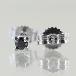 Boucles d'oreilles Medium Point Light en or et diamants noirs 00384