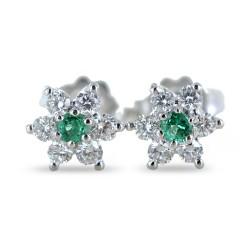 Orecchini a stella in oro e diamanti con smeraldi ct. 0.10 00386