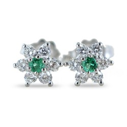Star earrings in gold and diamonds with emeralds ct. 0.10 00386