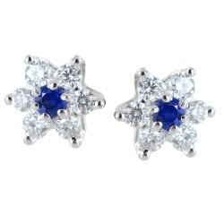Boucles d'oreilles étoiles en or et diamants avec saphirs ct. 0,10 00387