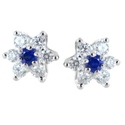 Star earrings in gold and diamonds with sapphires ct. 0.10 00387