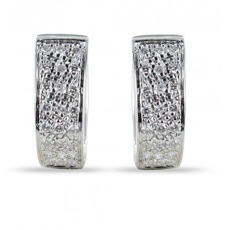 Oval hoop earrings with pave diamonds ct 0.25 color G 00389