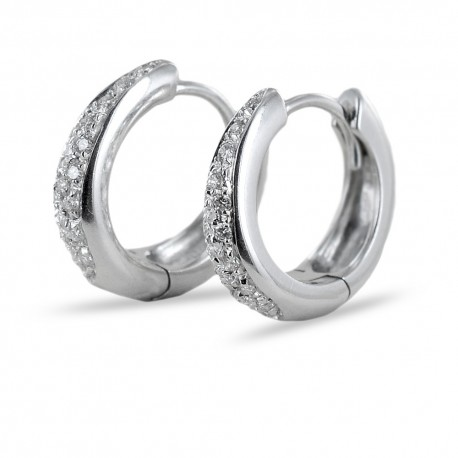Hoop earrings with pave diamonds ct 0.30 color G 00390