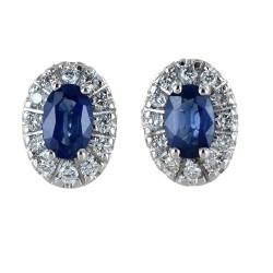 Boucles d'oreilles avec contour Saphirs et Diamants - moyen modèle 00392