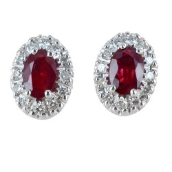 Earrings with Rubies and Diamonds outline - medium model 00393