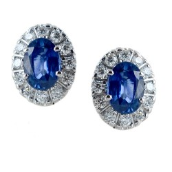 Sapphire and diamond surround earrings - large model 00394