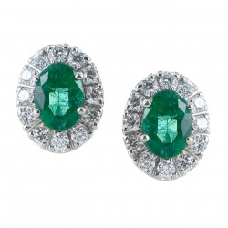 Earrings with Emeralds and Diamonds outline - large model 00396
