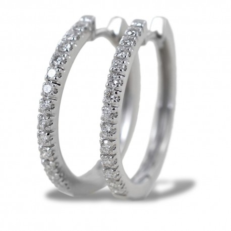 Medium hoop earrings 22.50 mm with diamonds on the front 00399