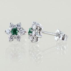 Orecchini a stella in oro e diamanti con smeraldi ct. 0.17 00404