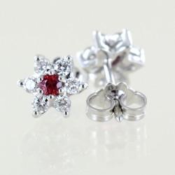 Orecchini a stella in oro e diamanti con rubini ct. 0.17 00405