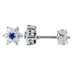 Star earrings in gold and diamonds with sapphires ct. 0.10 00407