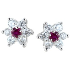 Gold and diamond star earrings with rubies ct. 0.10 00408
