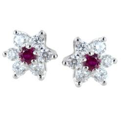 Orecchini a stella in oro e diamanti con rubini ct. 0.10 00408