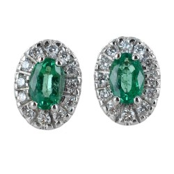 Earrings with Emeralds and Diamonds outline - medium model 00412