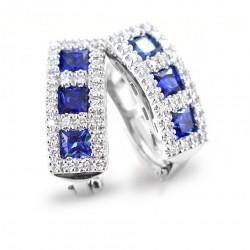 Boucles d'oreilles trilogie saphir avec diamants couleur F 00414