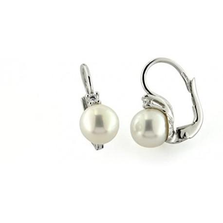 orecchini con perla a monachina e zircone in oro bianco