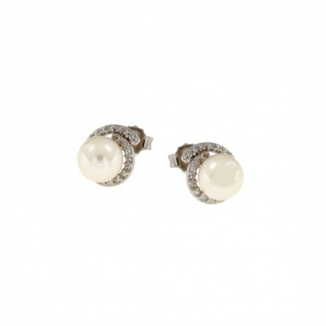earrings with pearl and zircons in white gold O2970B