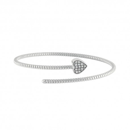 Bracciale Semirigido con cuore in oro bianco e diamanti