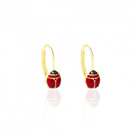 ladybug earrings in yellow gold O3176G