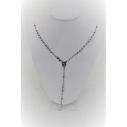 Halskette mit rosenkranz-anhänger in silber 925