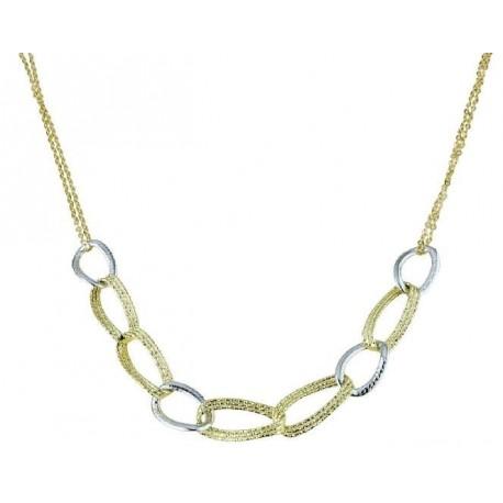 girocollo con catena a maglie ovali lavorate in oro giallo e bianco C1810BG