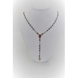 Collana a rosario pendente in argento 925 color rosè con sfere nere