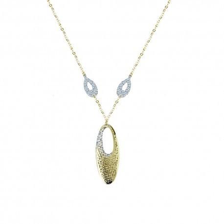 tour de cou chaîne avec pendentif ovale en or jaune et blanc C1845BG