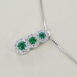 Trilogie-Halskette aus Smaragden und Umriss von Diamanten Jeera Gioielli 00425