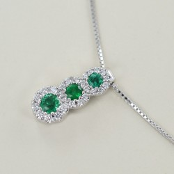 Trilogy necklace of Emeralds and outline of Diamonds Jeera Gioielli 00425