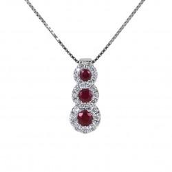 Collier Trilogie de Rubis et contour de Diamants Jeera Gioielli 00426