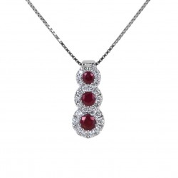 Trilogy necklace of Rubies and outline of Diamonds Jeera Gioielli 00426