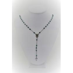 Halskette mit rosenkranz-anhänger, silber 925, silberfarben, mit grünen kugeln