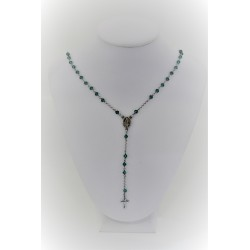 Necklace rosary silver pendant 925, silver-coloured with green balls