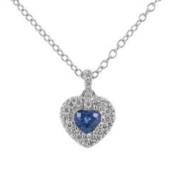 Collier avec pendentif coeur Saphir 0.29 avec contour diamant 00430