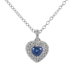 Necklace with Sapphire Heart pendant 0.29 with diamond outline 00430