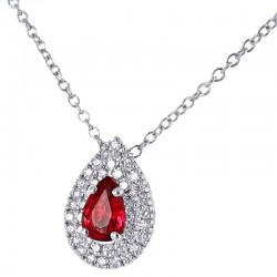 Gold necklace and pendant with Diamonds and Burma Ruby 00431