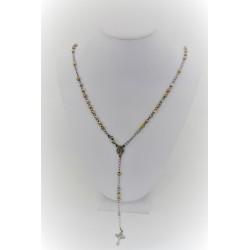 Collana a rosario pendente in argento 925 con sfere argentate rosè e gialle