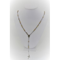 Necklace rosary pendant with 925 silver spheres, silver rose and yellow