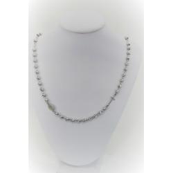 Collana rosario unisex a girocollo in argento 925 con sfere grandi