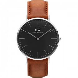 Daniel Wellington Classic Bristol, men's leather watch, dark brown / silver, 40 mm