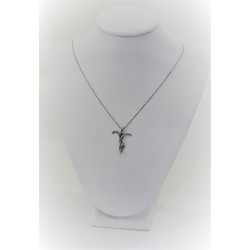 White gold necklace 18 kt with cross and stylized and diamonds