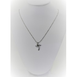Collier feuilleté de femme en or blanc 18 kt avec croix en or blanc