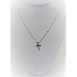 Ожерелье прокатанный для женщин 18-каратного белого золота с крестом из белого золота