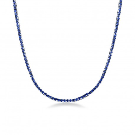 tennis necklace with set sapphires