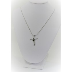 Necklace laminated woman in a white gold cross stylised pendant in white gold