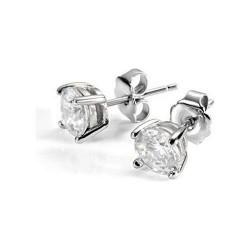 Boucles d'oreilles point de lumière en or blanc 18 kt et zircon blanc