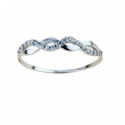 anello fatasia con zirconi in oro bianco 18 kt A2432B