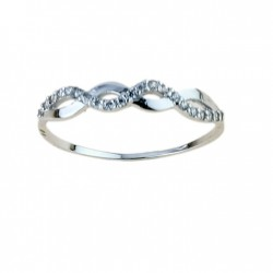 fairy ring with cubic zirconia in 18 kt white gold A2432B