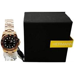 Часы Герман Часы Безель Gmt Из Нержавеющей Стали Браслет Розовое Золото