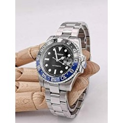 Uhr Hermann Uhrenring, Uhr Gmt Stahl Schwarz Blau automatik